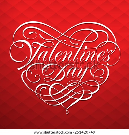 Valentine card with calligraphic lettering on a red background. Vector illustration. - stock vector