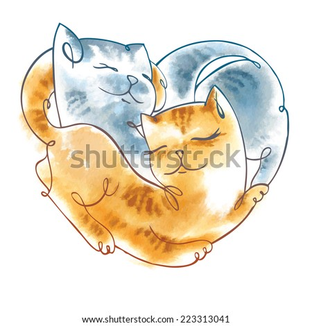 Valentine card with cats lying in the shape of heart