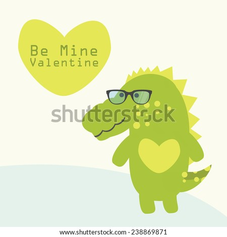 Valentine card with cute alligator. Vector illustration. - stock vector