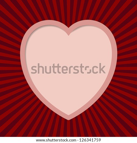 Valentine card with cutted heart. EPS10 vector.