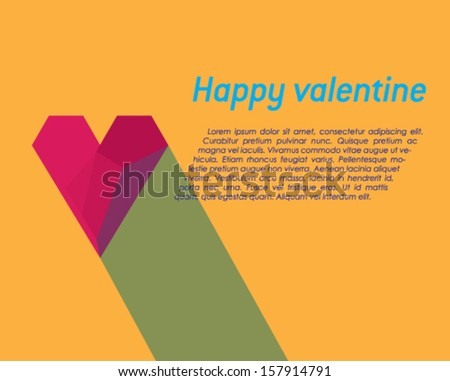 Valentine card with effect of red paper heart, vector eps10 illustration on orange background. - stock vector