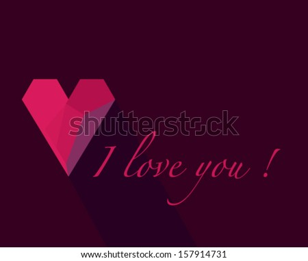Valentine card with effect of red paper heart, vector eps10 illustration on purple background. - stock vector