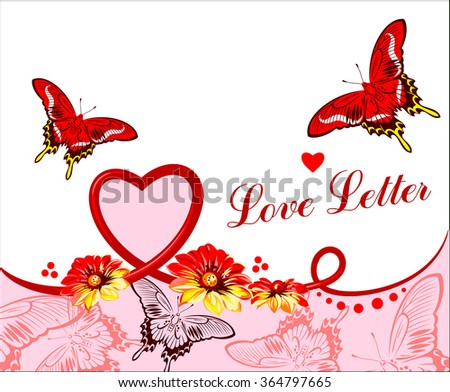 Valentine card with flowers, butterflies and ribbon