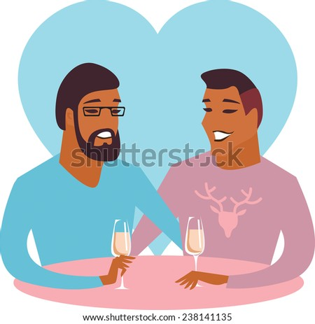 Valentine card with happy male gay couple - stock vector