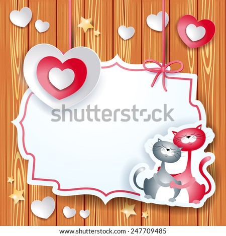 Valentine card with heart and lovely cats, vector eps10 - stock vector