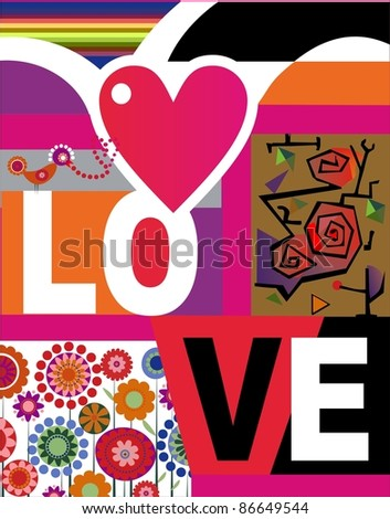 Valentine card with lettering Love. Vector illustration. - stock vector
