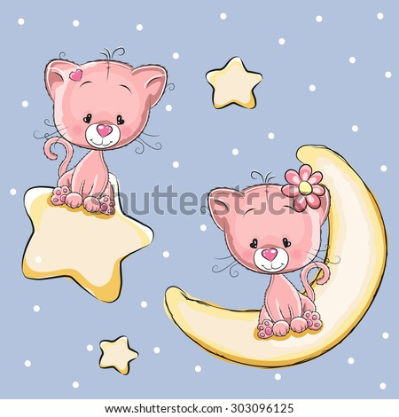Valentine card with Lovers Cats on a moon and star - stock vector
