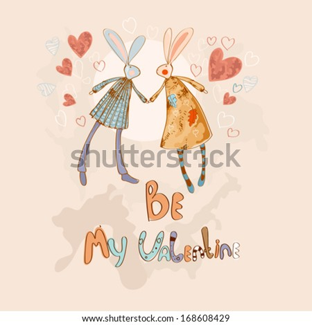 Valentine card with rabbits in love - stock vector