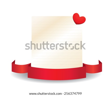 Valentine card with ribbon and label - stock vector
