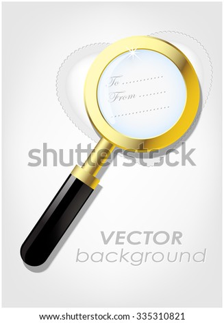 Valentine cards with magnifying glass - stock vector