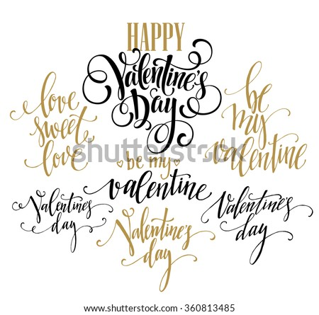 Valentine Day and Love lettering collection. Vector illustration EPS10 - stock vector