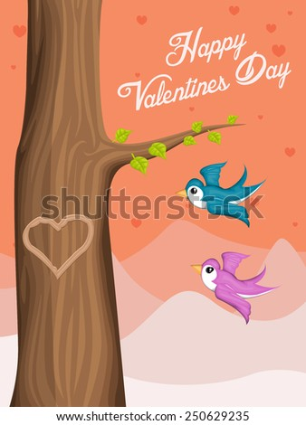 Valentine Day background with flying love birds - stock vector
