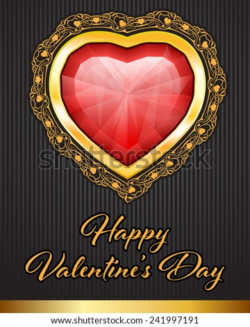 Valentine Day background with gem hearts and floral border