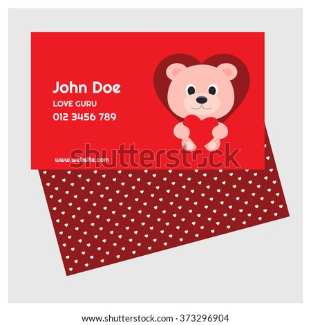Valentine day business card teddy bear stock vector 373296904 valentine day business card teddy bear with heart cute card on pink background background colourmoves