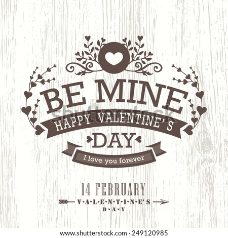 Valentine day card with floral vintage banner sign on wooden background vector - stock vector