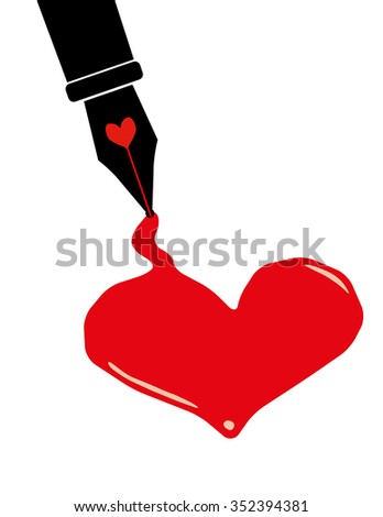 Valentine Day concept with a black fountain pen leaking red ink to form a puddle in the shape of a heart - stock vector