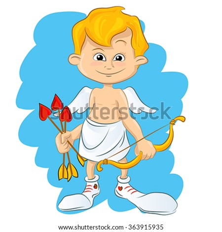 Valentine Day cupid angel cartoon style vector illustration. Cupid cartoon kids vector illustration, Cute playfull Valentine Amur isolated on white background  - stock vector