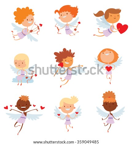 Valentine Day cupid angels cartoon style vector illustration. Amur cupid kids playing. Cupid cartoon kids vector illustration, Cute playfull Valentine  cupid angels isolated on white background  - stock vector
