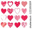 Valentine day doodle hearts - stock photo