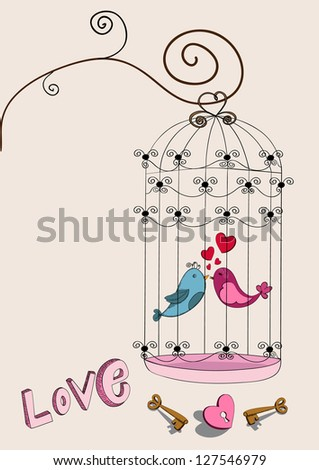 Valentine day freedom bird love background. Vector illustration layered for easy manipulation and custom coloring. - stock vector