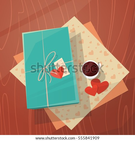 Valentine Day Gift Card Holiday Decorated Workspace Desk Top Angle View Flat Vector Illustration