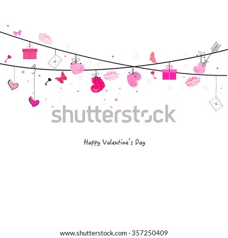 Valentine day greeting card with love icon vector
