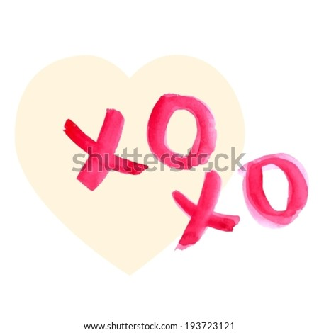 Valentine Day Heart and watercolor lettering XO XO in red over light background, VECTOR - stock vector