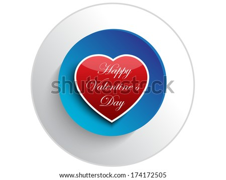 Valentine day heart button.Vector - stock vector