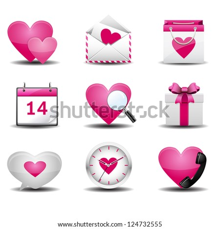 valentine day icon pink - stock vector