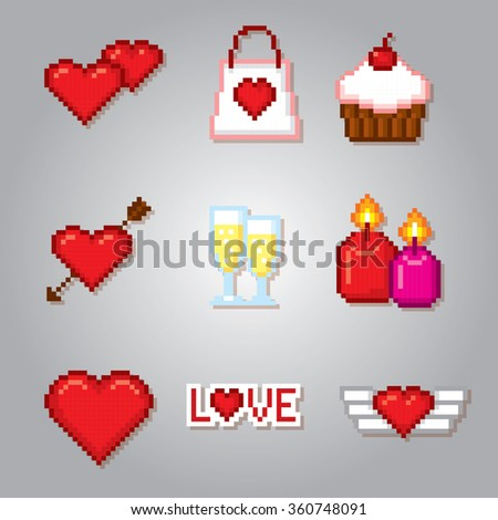 Valentine day icons set. Pixel art. Old school computer graphic style. - stock vector