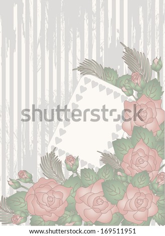 Valentine day invitation card, vector illustration - stock vector