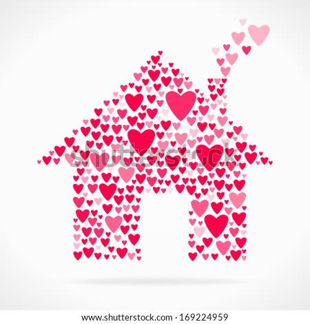 Valentine day love declaration home - stock vector
