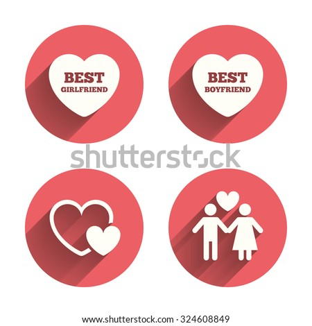 Valentine day love icons. Best girlfriend and boyfriend symbol. Couple lovers sign. Pink circles flat buttons with shadow. Vector - stock vector