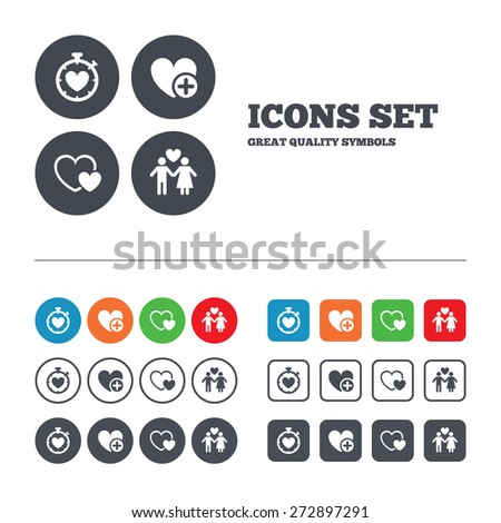 Valentine day love icons. Love heart timer symbol. Couple lovers sign. Add new love relationship. Web buttons set. Circles and squares templates. Vector