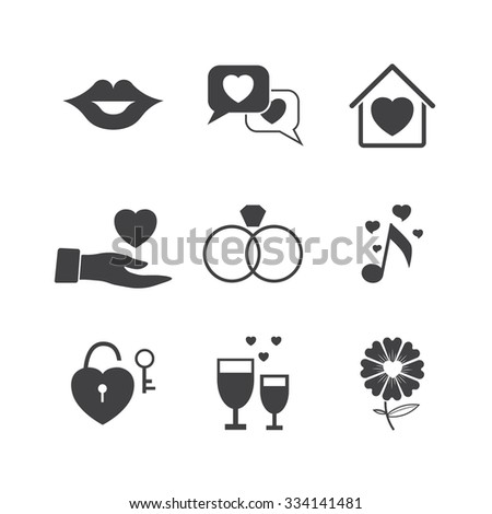 Valentine day love icons set. - stock vector