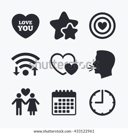 Valentine day love icons. Target aim with heart symbol. Couple lovers sign. Wifi internet, favorite stars, calendar and clock. Talking head. Vector - stock vector