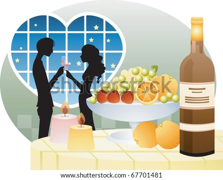 Valentine day Lovers on a background of heart shaped window - toasting beautiful young woman and man with wine glass in romantic happy night - stock vector