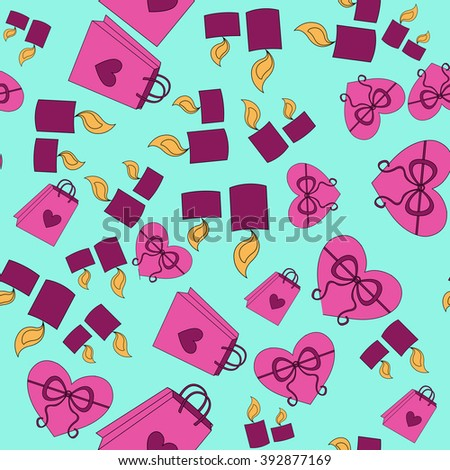 Valentine Day pink pattern with blue background - stock vector
