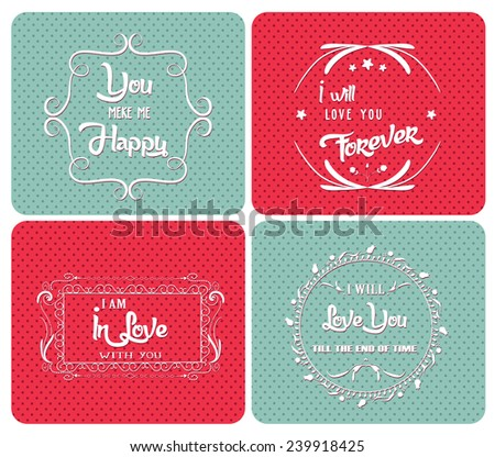 Valentine Day poster.Typography ornaments - stock vector