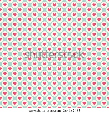 Valentine day seamless pattern. Endless texture with hearts in red and white. Vector illustration in flat design style. For invitations, scrapbooking, cards, posters. - stock vector