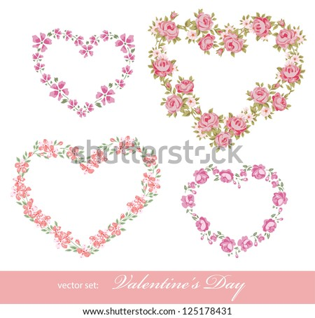 Valentine day set with beautiful floral hearts. Flower frame for you photo - stock vector