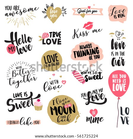 valentine day signs and elements collection flat design vector illustrations for greeting cards love