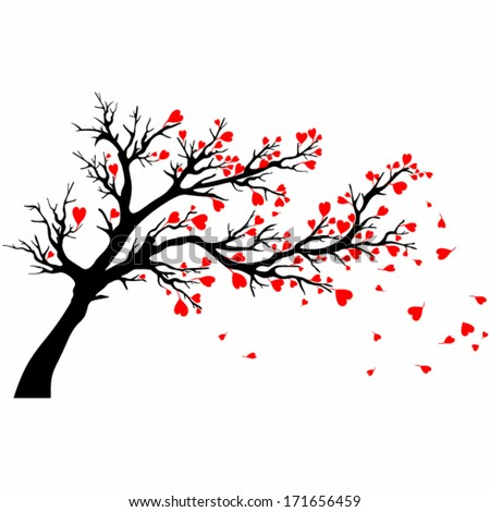Valentine day tree. Vector tree with heart shaped leaves blown by wind. - stock vector