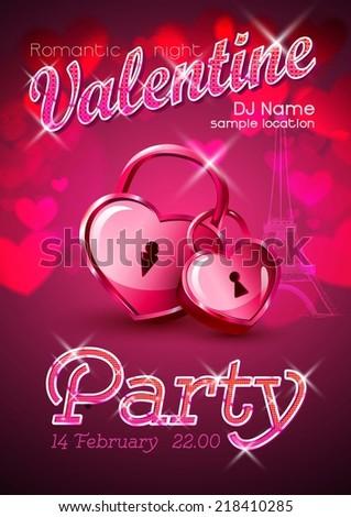 Valentine disco poster. Valentine background - stock vector
