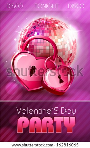 Valentine disco poster with hearts - stock vector