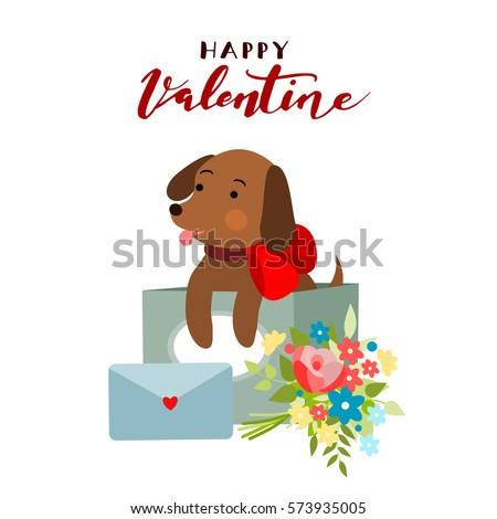 Valentine Dog, vector illustration