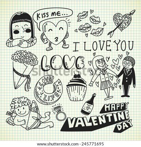 valentine doodle - stock vector