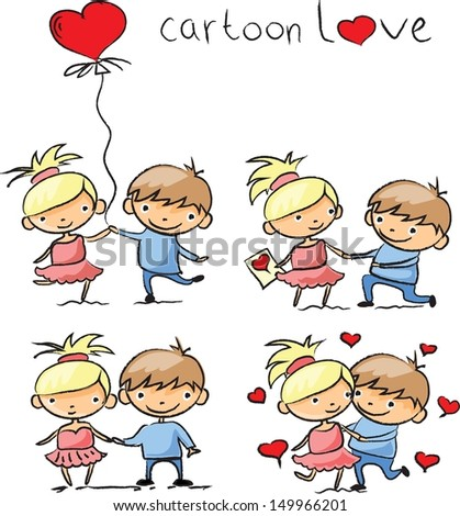 Valentine doodle boy and girl, vector  - stock vector