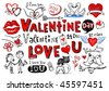 Valentine doodle set, Hand-drawn icons. Vector illustration - stock vector