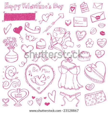 Valentine Doodles - stock vector